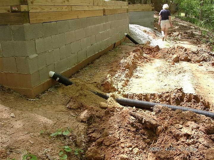 11 200204221407 Drain Pipe.JPG   Naturally, The Retaining Wall Also Needs  Drains.